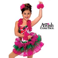Channel the sun, surf, and sand when you pair the tropical-themed halter leotard with this tiered two-tone tutu. Tutu features three tiered layers of fuchsia and green organza with fuchsia sequin trim and a stretch elastic waistband. Dance Recital Costumes, Tutu Costumes, Girly Girl Outfits, Hawaiian Girls, Beautiful Costumes, Girl Dancing, Dance Outfits, Dance Wear, Cute Girls