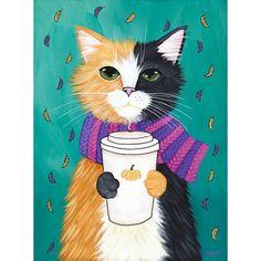 Autumn Pumpkin Coffee Cat Original Folk Art Portrait Painting ❤ liked on Polyvore featuring home, home decor, wall art, black cat painting, fall paintings, black folk art, black paintings and autumn home decor