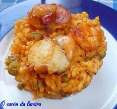 ó carón da Lareira: Arroz con vieiras y langostinos Couscous, Paella, Risotto, Quinoa, Good Food, Food And Drink, Rice, Cooking Recipes, Eat