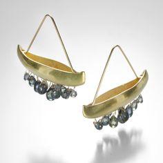 Canoe Earrings with Blue Sapphire Drops by Gabriella Kiss @quadrum