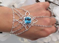 Blue Topaz Slave Bracelet Bracelet Ring by TheMysticalOasisGlow, $40.00
