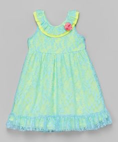 Lime & Blue Floral Lace Dress - Infant, Toddler & Girls | zulily