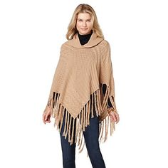 Shop Jamie Gries Collection Cable-Knit Poncho with Fringe Trim at HSN mobile