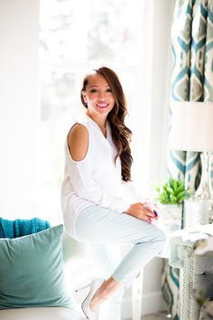 balayage, petite fashion, white blouse, mint pants, fashion blog, home tour, asian blogger, debshops, highlights