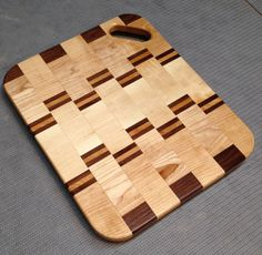 Maple, Cherry, And Walnut Cutting Board With Corner Handle