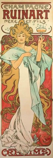 A full-length figure of a woman with stylised blond hair forming arabesques around her body wears a white dress with a pale blue shawl and holds a glass of champagne at face-level with her left hand; she stands against a red background; the text Champagne Ruinart Père et fils features at the top of the poster; Rheims features at the bottom of the poster
