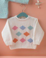Book Baby 72 Spring / Summer | 20: Baby Sweater | White / Rose / Sky blue / Pastel green