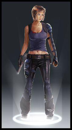 Cyberpunk, Cyborg, Prosthetic Hand, Girl with Gun, chara exploration finish 2 by ~jamga on deviantART Cyberpunk Rpg, Cyberpunk Character, Cyberpunk Girl, Fantasy Women, Sci Fi Fantasy, Samurai, Ex Machina, Sci Fi Characters, Science Fiction Art