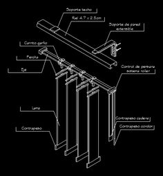 Detalle de persiana vertical (dwgDibujo de Autocad)                                                                                                                                                                                 Más