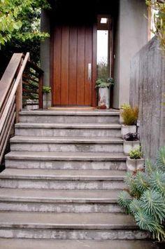 clean modern entryway stairs