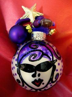 Baltimore RAVENS Hon Christmas ball ornament- beehive hairdo