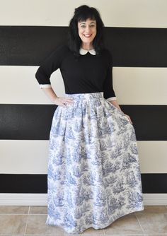 Blue Toile Midi Skirt Mini Skirt or Maxi Ball by SandeeRoyalty