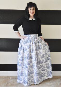 Blue Toile Midi Skirt Mini Skirt or Maxi Ball by SandeeRoyalty