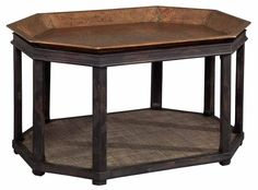 Hekman Tray Coffee Table Accented with Hammered Copper Tray Top