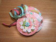 Pink and Aqua Premade Flower Mini Scrapbook Album by HampshireRose, $10.00