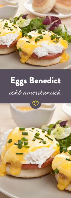 Die amerikanischen Eggs Benedict sorgen für Abwechslung auf dem Frühstückstisch: Pochierte Eier, die auf einem englischen Muffin mit Schinken und Sauce Hollandaise serviert werden.