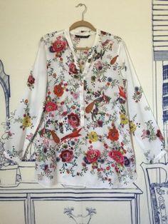 Zara-Floral-Bird-Print-Shirt-Top-Blouse-Tunic-Boho-Sold-Out-Size-L