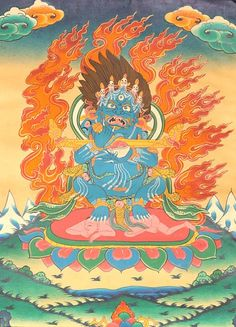 Mahakala has a special relationship with the Buddhist monastery (vihara). The ever-innovative Tibetan artist developed an icon which expressed specifically, in a forceful and hard hitting manner, the role of Mahakala as the powerful protector of Buddhist viharas. Thus developed in the canons of Tibetan Buddhist aesthetics a unique form of Mahakala known as Gur gyi mGon po, or the 'Great Lord of the Pavilion.'  Grinning wildly and with fiery eyes, this terrible image of the Great Dark One…