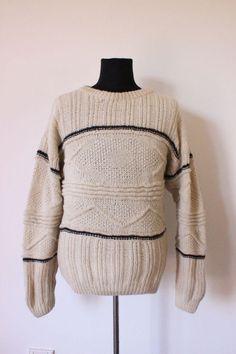 MENS JUMPER knitwear hand knitted knit VINTAGE trendy BOYFRIEND hipster WOOL XL