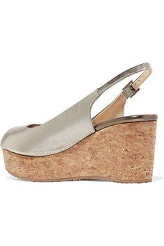 Jimmy Choo - Praise Lamé Wedge Sandals - Gold - IT40.5