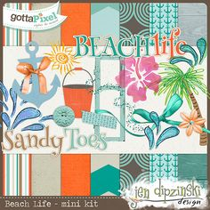 Beach Life Mini Kit :: Pixel Club Exclusives :: Pixel Club :: Gotta Pixel Digital Scrapbook Store