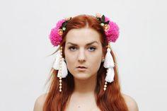 BLOSSOM/ Pom Pom & Tassel floral crown by DDSLLGirlsStore on Etsy, $43.00