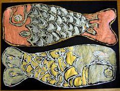 Japanese fish kites : golden paints on black construction paper