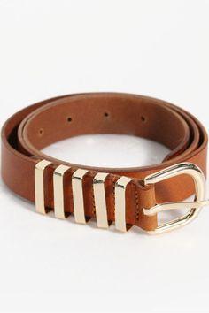 Camel And Gold Metal Belt | STYLEADDICT.COM.AU