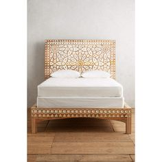 Anthropologie Handcarved Albaron Bed (3,135 CAD) ❤ liked on Polyvore featuring home, furniture, beds, anthropologie, two tone furniture, hand carved furniture, moroccan style furniture and hand carved bed