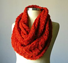 Crochet Cowl Scarf Neck Warmer terracotta winter by yarnisland