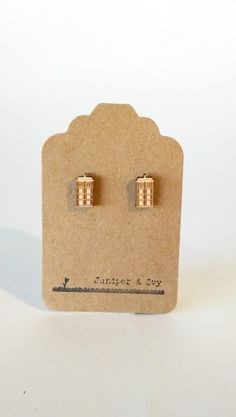 Doctor Who TARDIS Cutout on Maple Wood Laser Engraved and Cut Titanium Post Stud Earring Pair on Etsy, $10.00