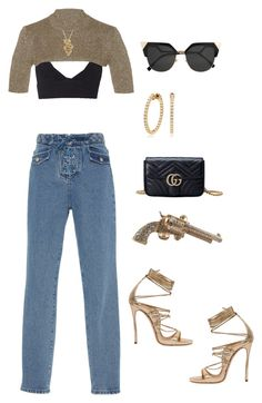 """""""Untitled #3191"""" by mollface ❤ liked on Polyvore featuring RED Valentino, Effy Jewelry, Dsquared2, Chanel, Fendi and Gucci"""