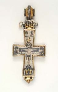 Enkolpion Reliquary Cross with Crucifixion and the Virgin  Byzantine  10th to 11th Century
