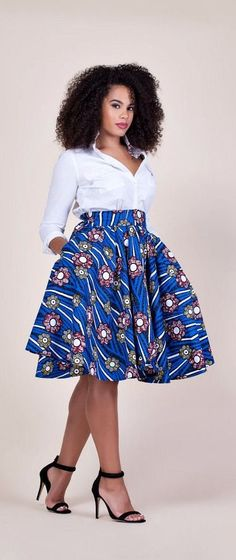 Fami Skirt. Relaxed yet sophisticated and, best of all, universally flattering – just look how it nips in the waist – a full, high waisted skirt. Ankara | Dutch wax | Kente | Kitenge | Dashiki | African print bomber jacket | African fashion | Ankara bomber jacket | African prints | Nigerian style | Ghanaian fashion | Senegal fashion | Kenya fashion | Nigerian fashion | Ankara midi skirt (affiliate)