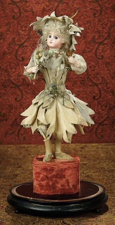 "The Memory of All That - Marquis Antique Doll Auction: 143 French Bisque Automaton ""Blossom Girl, Fan and Lorgnette"" Paris Boutique Medallion"