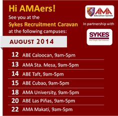 SYKES RECRUITMENT CARAVAN FOR AMA, ABE, ACLC AND ST. AUGUSTINE GRADUATING STUDENTS AND ALUMNI! *AUGUST 7, AMA East Rizal, 9am-5pm