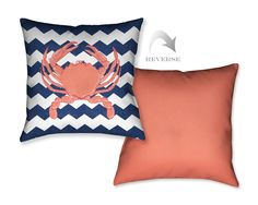 Crab Chevron Decorative Pillow