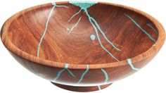 Treestump Woodcrafts Small Mesquite Salad Bowl with Turquoise Serveware, Tableware, Wood Creations, Wood Bowls, Sculpture, Salad Bowls, Wood Turning, Wood Projects, Lathe Projects