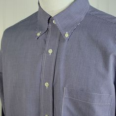 Brooks Brothers 346 No Iron Blue Micro Check Dress Shirt 15 1/2 34 35 Excellent #BrooksBrothers #NonIron