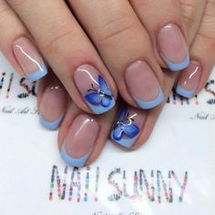Blue French manicure — photos of the best design ideas