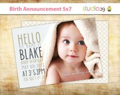modern birth announcements with sibling - Google Search