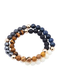 Men's Wrap-Around Bracelet with Tiger Eye, Blue Coral, Hematite, Matte Onyx and…