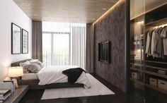 Fernseher schlafzimmer ~ Schlafzimmer einrichten beispiele luxuriöse wände wanduhr teppich