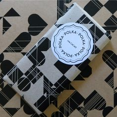 "Polka Chocolate packaging. love the mandala of  polka"" in that lotus style"