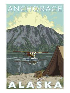Bush Plane & Fishing, Anchorage, Alaska Prints