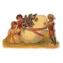 Victorian Children and Egg Vintage Easter Card
