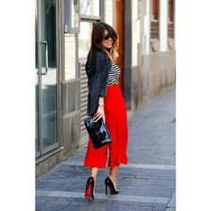 stripes, red culottes, and with black jacket and heels