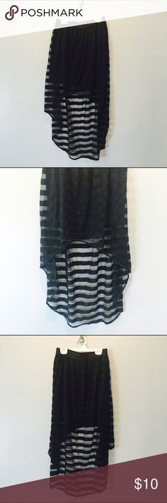 High-Low Striped Skirt❗️Never Worn, Awesome Find! Edgy high-low style skirt | Forever 21 | Elastic waist band | Alternates between black and mesh stripes | Great with a cool crop top for a concert or night out | NEVER WORN | Forever 21 Skirts High Low