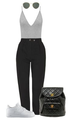 """Untitled #4458"" by ericacavaco12 ❤ liked on Polyvore featuring Topshop, NIKE, Ray-Ban and Chanel"