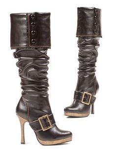 These knee high heel boots have got style, buckles, and a slouchy look to boot! Faux brown leather - 4 inch heel - high knee high boots.